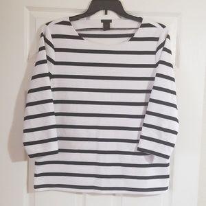 Ann Taylor Black & White Stripe Top